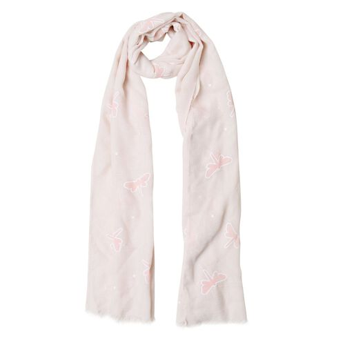 Dragonfly Pattern Pink and Beige Colour Scarf (Size 180x70 Cm)