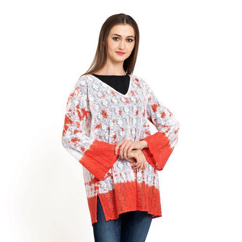 100% Cotton Laser Cut Floral Pattern White and Orange Colour Ombre Effects Poncho (Size 70x50 Cm)