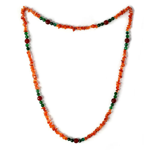 Carnelian, Green and Red Agate Necklace (Size 36) 313.55 Ct.