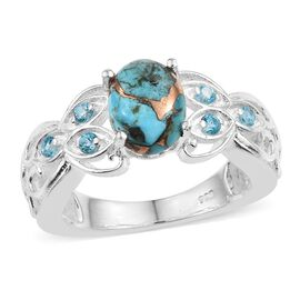 Blue Turquoise (Ovl 1.75 Ct), Signity Pariaba Topaz Ring in Sterling Silver 2.000 Ct.