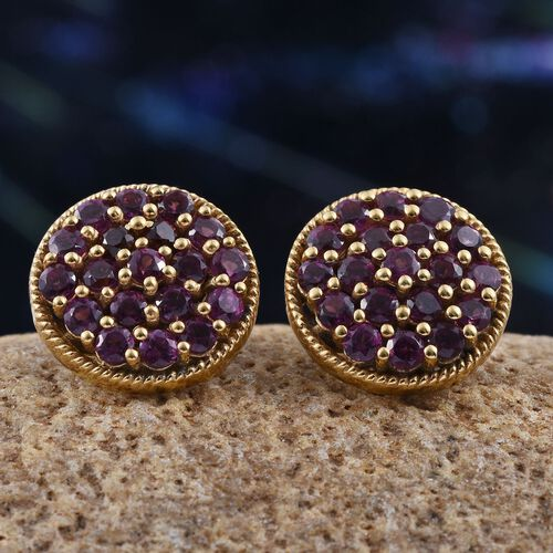Rare Mozambique Grape Colour Garnet (Rnd) Stud Earrings (with Push Back) in 14K Gold Overlay Sterling Silver 2.000 Ct.