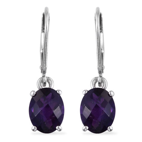Checkerboard Cut AA Lusaka Amethyst (Ovl) Lever Back Earrings in Platinum Overlay Sterling Silver 3.000 Ct.