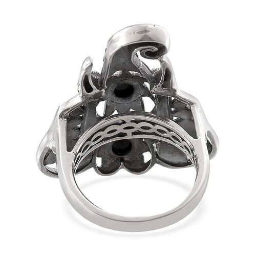 Tribal Collection of India Boi Ploi Black Spinel (Rnd) Ring in Sterling Silver 1.750 Ct.