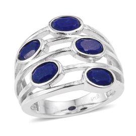 Lapis Lazuli (Ovl) 5 Stone Ring in ION Plated Platinum Bond 2.500 Ct.