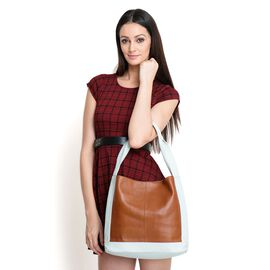 Close Out Deal - Genuine Leather Chocolate and Cream Big Tote Bag (40x30x10cm)