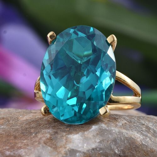 Capri Blue Quartz (Ovl) Ring in 14K Gold Overlay Sterling Silver 18.000 Ct.