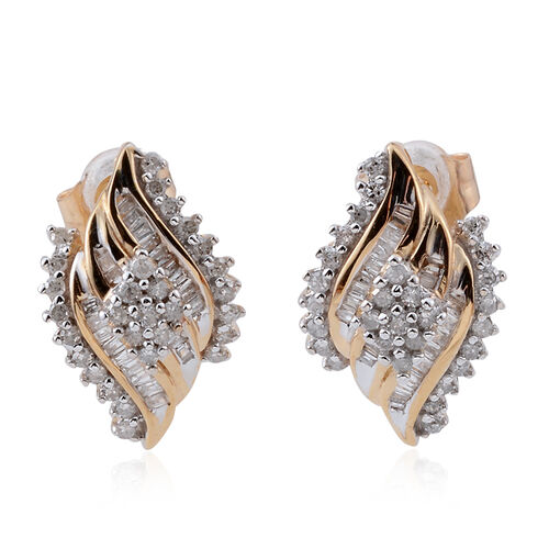 One Time Deal Tucson Collection 9K Y Gold Diamond (Rnd) (I2-G/H) Stud Earrings (with Push Back), 0.33 ct