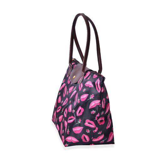 Set of 2 - Lip and Rose Pattern Black Colour Large Handbag (Size 45x28x27.5x17 Cm) and Small Handbag (Size 32x21x20x12.5 Cm)