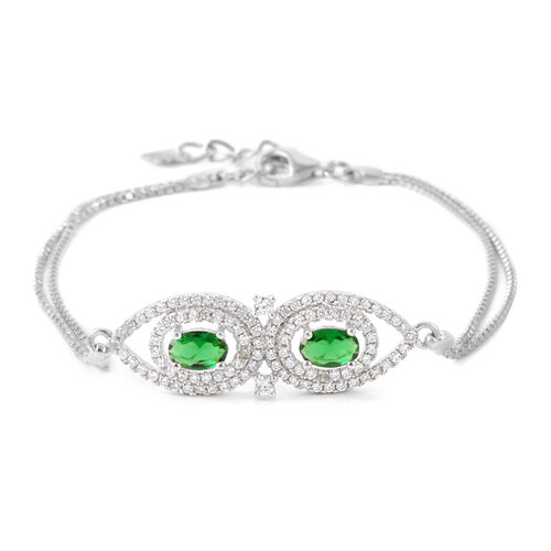 ELANZA AAA Simulated Peridot (Pear), Simulated Diamond Bracelet (Size 7.25 with Extender) in Rhodium Plated Sterling Silver