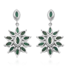 Kagem Zambian Emerald (Mrq) Floral Earrings (with Push Back) in Platinum Overlay Sterling Silver 2.000 Ct.