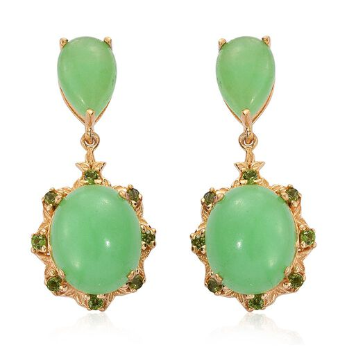 Green Jade (Ovl), Russian Diopside Earrings (with Push Back) in 14K Gold Overlay Sterling Silver 11.250 Ct.