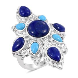 Royal Jaipur Lapis Lazuli (Rnd 5.25 Ct), Arizona Sleeping Beauty Turquoise and Burmese Ruby Ring in Platinum Overlay Sterling Silver 11.500 Ct.