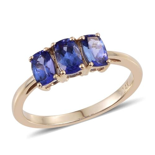 14K Y Gold Tanzanite (Cush) Trilogy Ring 1.500 Ct.