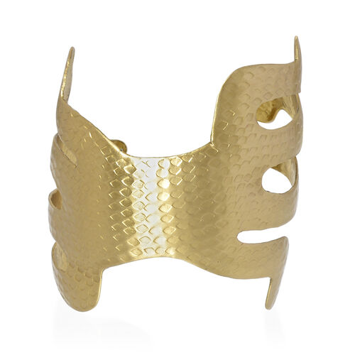 (Option 2) Gold Plated Hammered Brass Cuff Bangle