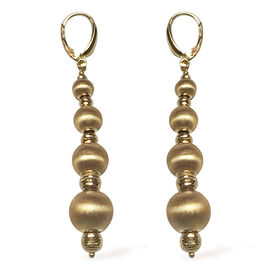9K Y Gold Lever Back Beads Earrings, Gold wt 5.74 Gms.