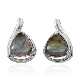 Labradorite (Trl) Earrings (with Push Back) in Platinum Overlay Sterling Silver 8.000 Ct.