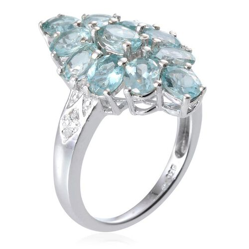 AA Paraibe Apatite (Ovl 0.50 Ct), Diamond Ring in Platinum Overlay Sterling Silver 3.520 Ct.