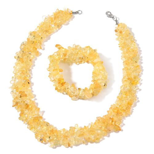 Citrine Sterling Silver Necklace (Size 18) and Stretchable Bracelet (Size 7.50) in Rhodium Plated Sterling Silver 724.200 Ct.
