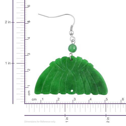 Rare Carved Green Jade Hook Earrings in Stainless Steel 60.000 Ct.