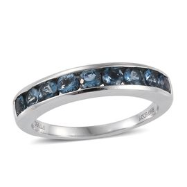 RHAPSODY 950 Platinum Santa Maria Aquamarine (Rnd) Half Eternity Band Ring 1.000 Ct.