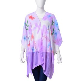Red, Blue and Multi Colour Bloom Floral Pattern Purple Colour Multifunctional Poncho with Simulated White Pearl Button (Size 90x75 Cm)