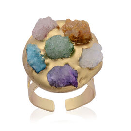 Multi Drusy Agate Adjustable Ring in Gold Tone 15.000 Ct.