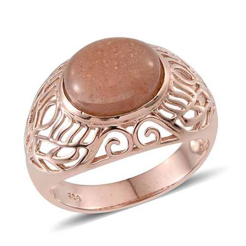 Morogoro Peach Sunstone (Ovl) Solitaire Ring in Rose Gold Overlay Sterling Silver 4.750 Ct.