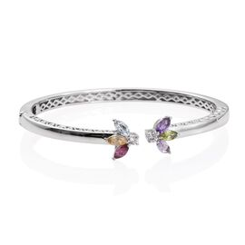 Sky Blue Topaz (Mrq), Hebei Peridot, Rhodolite Garnet, African Amethyst, Citrine, Rose De France Amethyst and Natural Cambodian Zircon Bangle (Size 7.5) in ION Plated Platunim Bond 2.500 Ct.