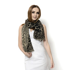 Designer Inspired Snake Pattern Chocolate and Multi Colour Scarf (Size 170x65 Cm)