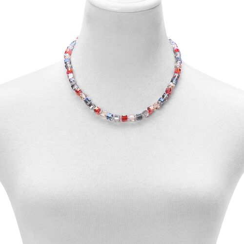 Multi Colour Glass Necklace (Size 18 with 2 inch Extender) in Silver Tone 150.000 Ct.