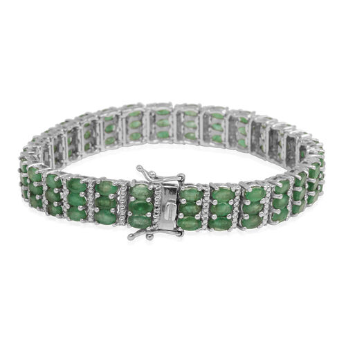 Kagem Zambian Emerald (Ovl), Diamond Bracelet (Size 7.5) in Platinum Overlay Sterling Silver 17.250 Ct.