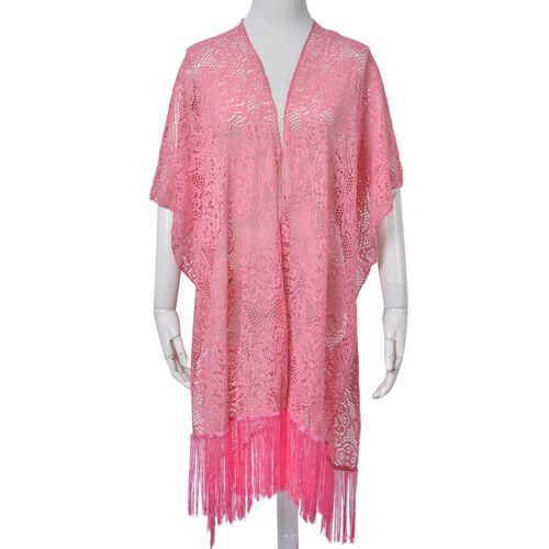 Floral Pattern Lace Design Pink Colour Shawl with Fringes (Size 100x80 Cm)