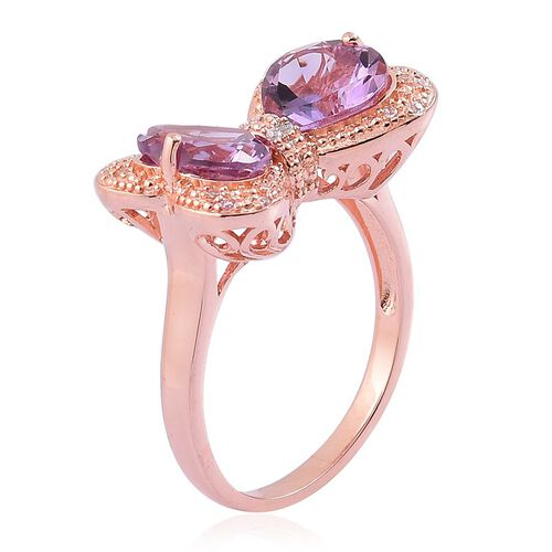 Rose De France Amethyst (Hrt), White Zircon Bowknot Ring in Rose Gold Overlay Sterling Silver 4.500 Ct.