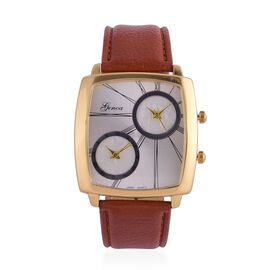 GENOA Japanese Movement Silver Dial Water Resistant Watch in Gold Tone with Stainless Steel Back and Chocolate Colour Strap