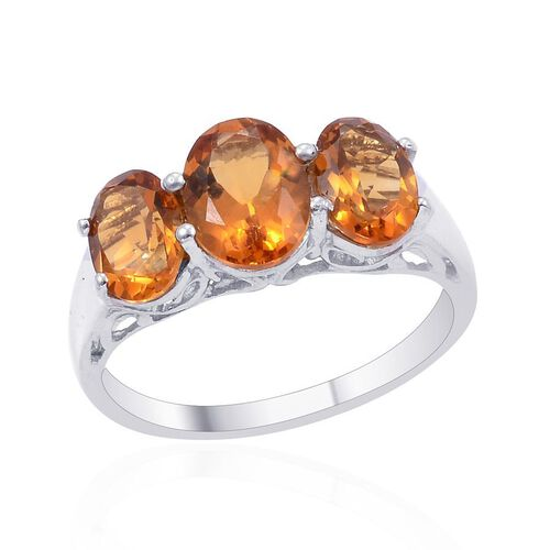 Madeira Citrine (Ovl 1.05 Ct) 3 Stone Ring in Platinum Overlay Sterling Silver 2.380 Ct.
