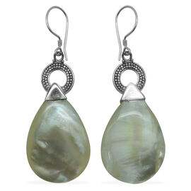 Royal Bali Collection Mother of Pearl Teardrop Hook Earrings in Sterling Silver 22.00 Ct.