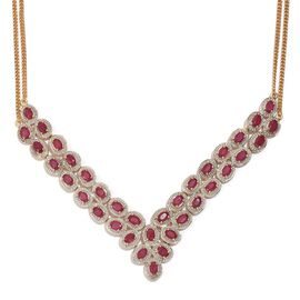 African Ruby (Ovl) Necklace (Size 18) in 14K Gold Overlay Sterling Silver 19.750 Ct.