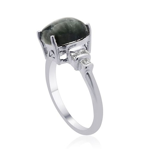 Siberian Seraphinite (Cush 2.64 Ct), White Topaz Ring in Platinum Overlay Sterling Silver 3.040 Ct.