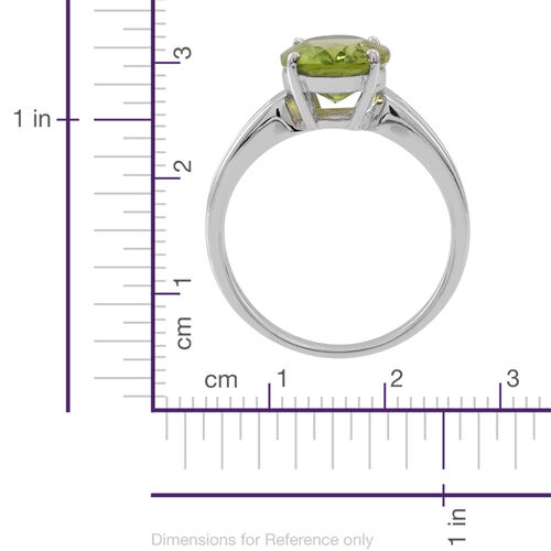 AA Hebei Peridot (Ovl) Solitaire Ring in Rhodium Plated Sterling Silver 3.750 Ct.