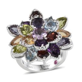 Stefy Rose De France Amethyst (Rnd), Hebei Peridot, Sky Blue Topaz, Mozambique Garnet, Iolite, Amethyst, Citrine, Pink Sapphire, White Topaz Floral Ring in Platinum Overlay Sterling Silver 8.750 Ct.