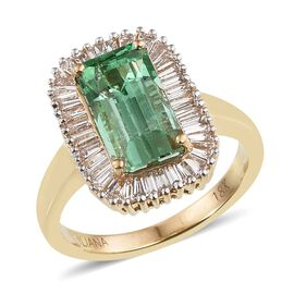 ILIANA 18K Y Gold Boyaca Colombian Emerald (Oct 3.15 Ct), Diamond Ring 4.150 Ct.