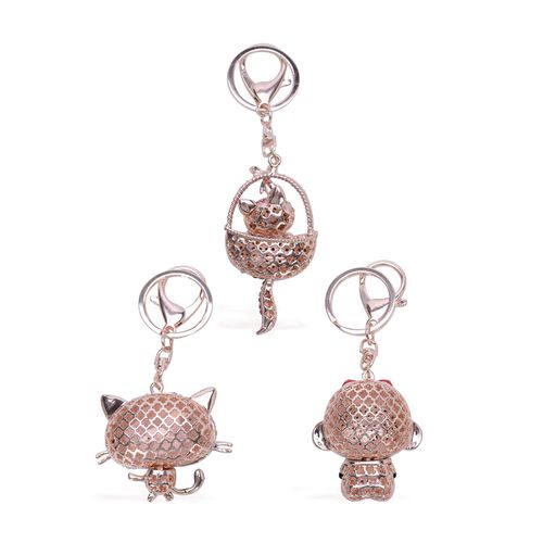 Set of 3 - White, Pink and Multi Colour Austrian Crystal Studded Enameled Key Chain in Rose Gold Tone