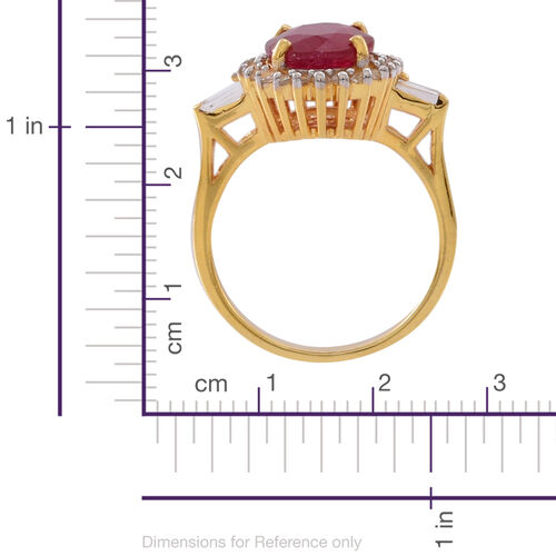 African Ruby (Ovl 5.00 Ct), White Topaz Ring in 14K Gold Overlay Sterling Silver 6.500 Ct.