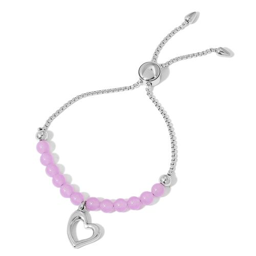 Purple Quartzite Adjustable Bracelet (Size 7 to 9) with Heart Charm in Stainless Steel 15.000 Ct.