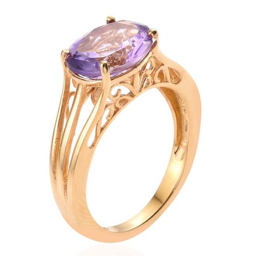 Amethyst (Ovl) Solitaire Ring in 14K Gold Overlay Sterling Silver 3.000 Ct.