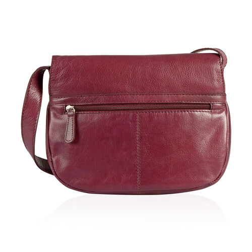 LIMITED STOCK Genuine Leather RFID Blocker Burgandy Colour Sling Bag with External Pocket and Adjustable Shoulder Strap (Size 25X19X7 Cm)