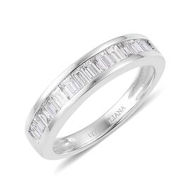 ILIANA 18K W Gold IGI Certified Diamond (Bgt) (SI / G-H) Half Eternity Band Ring 1.000 Ct.