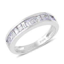 ILIANA 18K W Gold IGI Certified Diamond (Bgt) (SI/ G-H) Half Eternity Band Ring 1.000 Ct.
