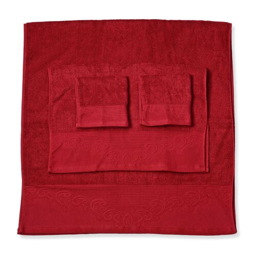 Set of 4 - 100% Cotton Red Colour 1 Bath Towel (Size 130x65 Cm), 2 Face Towel (Size 65x50 Cm) and 1 Hand Towel (Size 33x33 Cm) with Filigree Pattern at the Border
