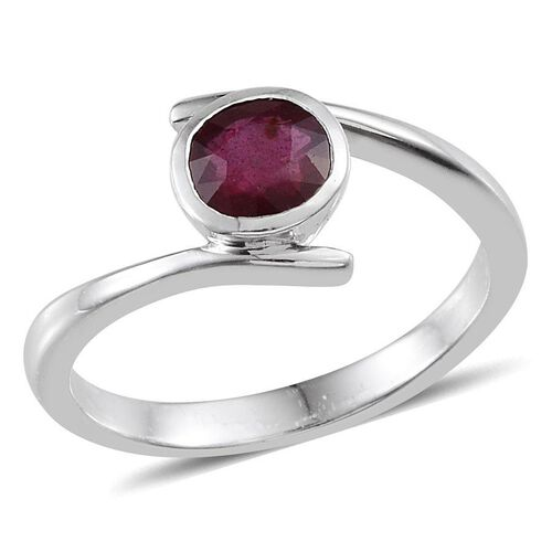 African Ruby (Rnd) Solitaire Ring in Platinum Overlay Sterling Silver 2.000 Ct.